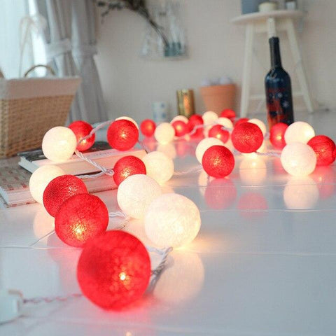 Guirlande lumineuse <br> boules rouges