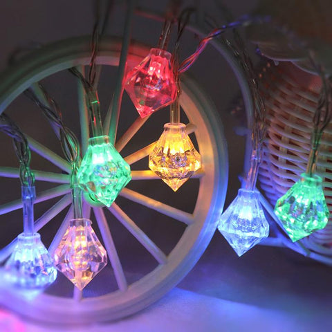 Guirlande lumineuse diamants multicolores