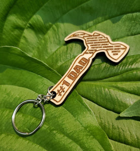 Wooden Hammer Key Chain for Dad , Happy Fathers Day , Number One Dad