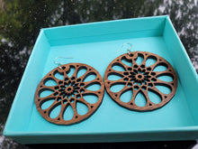 Load image into Gallery viewer, Walnut Mandala Sterling Silver Hook Earrings
