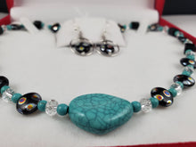 Load image into Gallery viewer, Czech Glass Turquoise Jewelry Set, Necklace and Earrings - Monak by MJDesigns