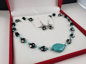 Czech Glass Turquoise Jewelry Set, Necklace and Earrings - Monak by MJDesigns