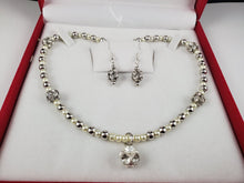 Load image into Gallery viewer, Silver Metal with White Pearls Jewelry Set, Necklace and Earrings - Monak by MJDesigns