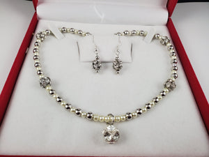 Silver Metal with White Pearls Jewelry Set, Necklace and Earrings - Monak by MJDesigns