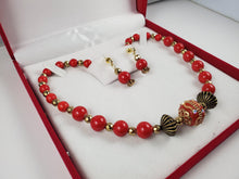 Load image into Gallery viewer, Red & Gold Ceramic Jewelry Set, Necklace and Earrings - Monak by MJDesigns