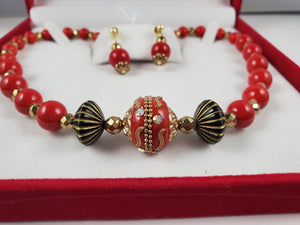 Red & Gold Ceramic Jewelry Set, Necklace and Earrings - Monak by MJDesigns