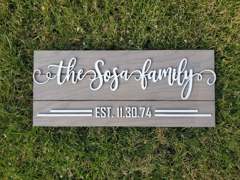 Personalized Family Name Wall Plaque - Customize Finish and Text Colors