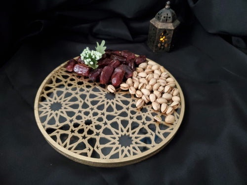 Islamic Pattern Wooden Sweets Tray With Acrylic Inlay - Gold/Silver
