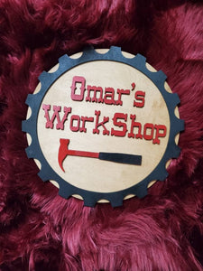 Fathers Day Personalized Workshop Sign - Great gift for Dad