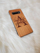 Load image into Gallery viewer, Personalized Engraved Wooden Phone Case - Monogram Design for iPhone XR, 11, 11 Pro & Samsung S10, S10 Plus