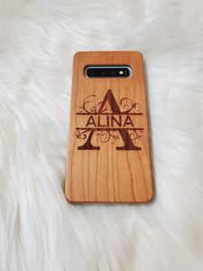 Personalized Engraved Wooden Phone Case - Monogram Design for iPhone XR, 11, 11 Pro & Samsung S10, S10 Plus