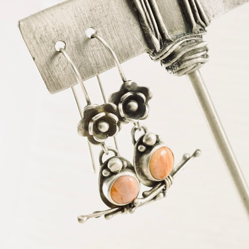 Coral and Twigs - Earrings