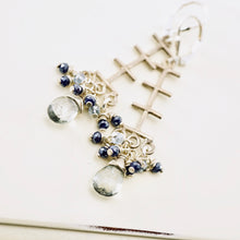 Load image into Gallery viewer, TN Raindrop Trellis Earrings (Blue)