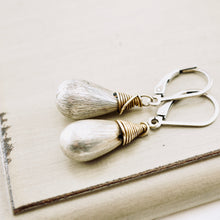 Load image into Gallery viewer, TN Brushed Silver Drop Earrings (Leverback)