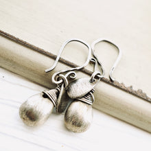 Load image into Gallery viewer, TN Brushed Silver Drop Earrings (French)