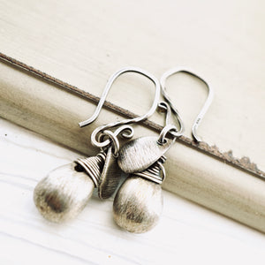 TN Brushed Silver Drop Earrings (French)