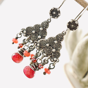 TN Cranberry Jade Chandelier Earrings (SS)