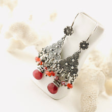 Load image into Gallery viewer, TN Cranberry Jade Chandelier Earrings (SS)
