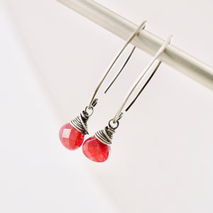 TN Cranberry Jade Long Earrings (SS)