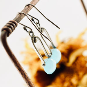 Petite Swings - Blue Chalcedony Earrings 08