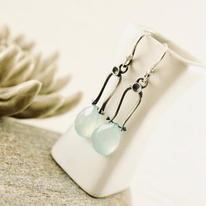 Petite Swings - Green Chalcedony Earrings 09