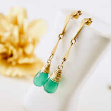 Load image into Gallery viewer, TN Green Onyx Gold Earrings (posts)