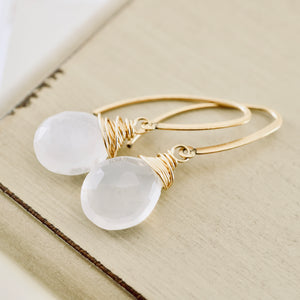 TN White Opal Long Earrings
