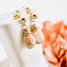 Load image into Gallery viewer, TN Rhodochrosite Gold Earrings (posts)