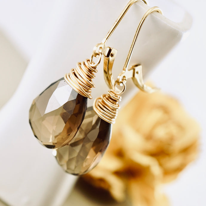 TN Smoky Quartz Earrings (long drops)