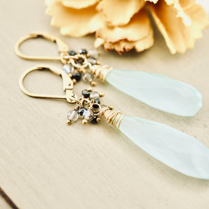 TN Aqua Chalcedony Long Drop Earrings