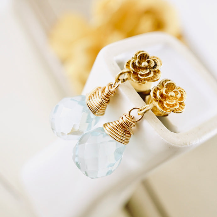 TN Aqua flower Posts Earrings