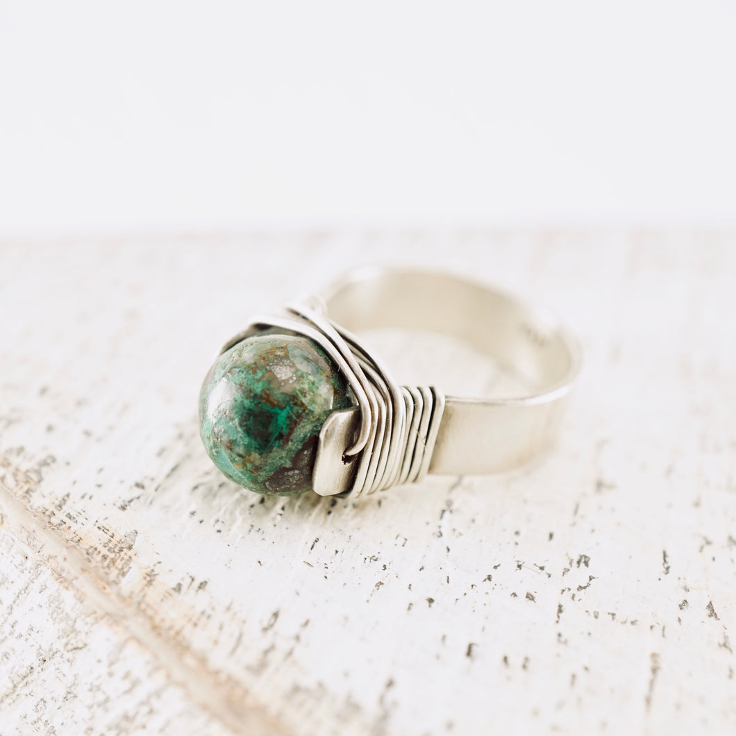 TN Green Jasper Silver Ring