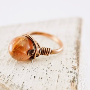 TN Strawberry Quartz Copper Ring
