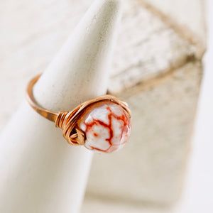 TN Red Fire Agate Copper Ring