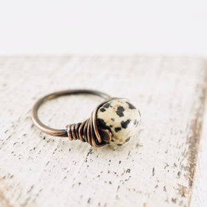 TN Dalmatian Jasper Copper Ring