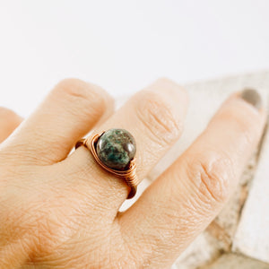 TN Green Jasper Copper Ring
