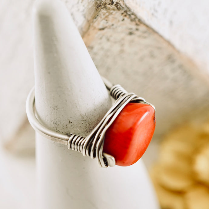TN Coral Silver Ring