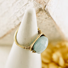 Load image into Gallery viewer, TN Aquamarine Brass Ring