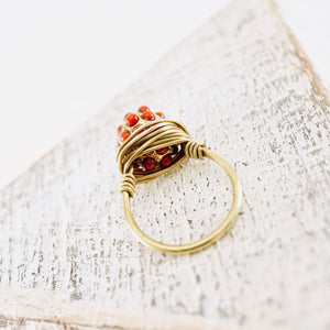 TN Red Dots Brass Ring