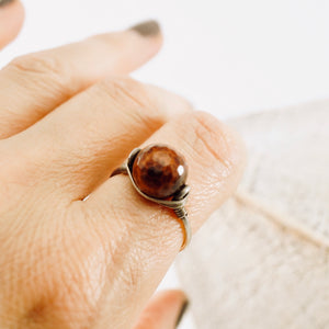 TN Brown Fire Agate Ring