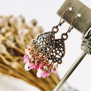 TN Rose Quartz Small Chandelier Earrings