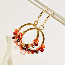 Load image into Gallery viewer, TN Ruby Rose Hoop Earrings