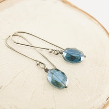 Load image into Gallery viewer, TN Crystal Drop Long Earrings (Oval Blue)