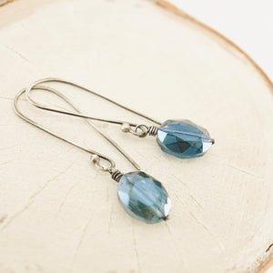 TN Crystal Drop Long Earrings (Oval Blue)