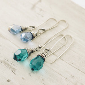 TN Crystal Drop Long Earrings (Blue)