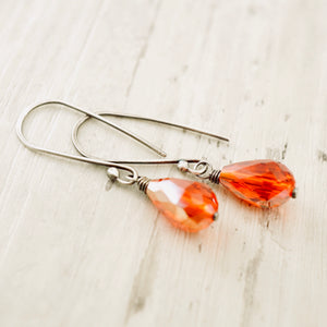 TN Crystal Drop Long Earrings (Clear Red)