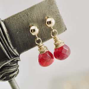 TN Pink Jade Drop Earrings (posts)