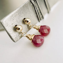 Load image into Gallery viewer, TN Pink Jade Drop Earrings (posts)