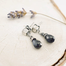 Load image into Gallery viewer, TN Square Post Blue Sapphire Drop Earrings