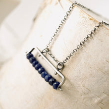 Load image into Gallery viewer, TN Blue Sapphire Bar Necklace